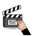clapper movie hand icon design vector image