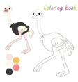 Coloring book ostrich kids layout for game vector image