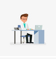 doctor cartoon character sitting on desk with vector image