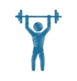 drawing colored silhouette man gym weight barbell vector image