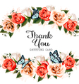 Beautiful Thank You greeting card with roses and vector image