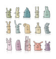 Funny rabbits collection for your design vector image