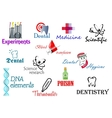 Scientifical and medical symbols set vector image vector image