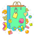 colorful of green shopping bag on white back vector image