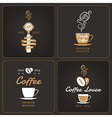 Set of vertical coffee shop badges and labels vector image