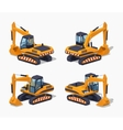 Yellow excavator Special machinery vector image