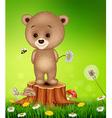 Little bear on tree stump in summer season vector image