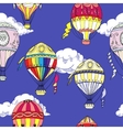Seamless pattern with clouds and hot air balloons vector image