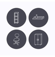 Office chair cupboard and shelving icons vector image