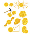a set of bitcoins a collection of gold coins of vector image
