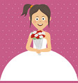 beautiful bride and white blank space for text vector image
