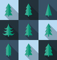 Flat icon set of Christmas trees vector image