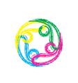 Teamwork 4 swooshes logo vector image