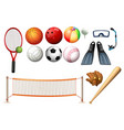 different equipments for different sports vector image vector image