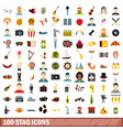 100 stag icons set flat style vector image