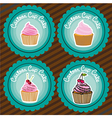 set of labels of cupcakes lines background vector image