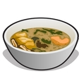 soup in a white bowl vector image