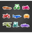Set stickers transport color icons vector image