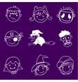 Face halloween in doodle set vector image