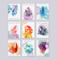 crystals and stones mini cards set vector image