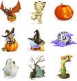 Happy Halloween set of icons vector image