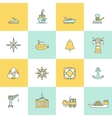Sea Port Icons Flat Line Set vector image