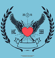 Vintage Hipster Logo Angel Heart with Crossed vector image