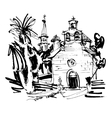 ink drawing of historic church in with palm in vector image