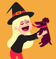 Cute Witch Holding Dog vector image