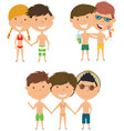 beach people standing and holding hands vector image