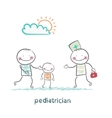 pediatrician takes dad with a sick child vector image vector image