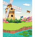 A barnhouse with a windmill near the river vector image