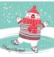 Christmas card with cute polar bear on an ice rink vector image