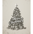 Christmas hand drawn fur tree for xmas design vector image vector image