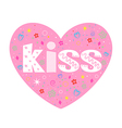 Kiss lettering decorative heart vector image vector image