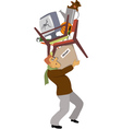 Man carrying his belongings vector image