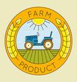 Farm tractor emblem logo - natural farm product vector image vector image