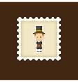 American Pilgrim children stamp Thanksgiving day vector image