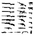 Weapon silhouette set vector image