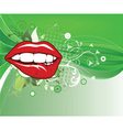 lips with floral vector image