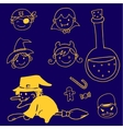 Halloween in doodle character witch and face vector image