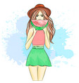 a girl on a summer break vector image