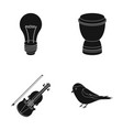 a light bulb a drum and other web icon in black vector image
