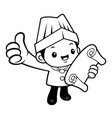 black and white executive chef mascot is watching vector image