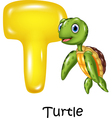 Cartoon of T letter for Turtle vector image