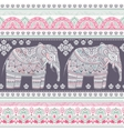 Ethnic Indian bohemian style elephant seamless vector image