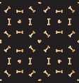 luxury golden bones and hearts for dog seamless vector image