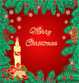 Merry Christmas frame of pine needles and candle vector image