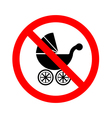 No Baby Carriage Sign on white background vector image