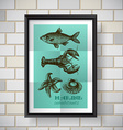 poster sea food vector image